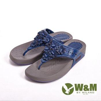 W&M 波西米亞復古碎花夾趾涼鞋女鞋-藍(另有桃、黃)