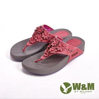 W&M 波西米亞復古碎花夾趾涼鞋女鞋-桃(另有藍、黃)