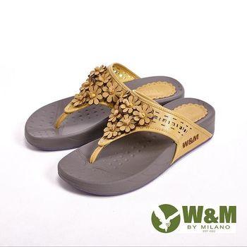 W&M 波西米亞復古碎花夾趾涼鞋女鞋-黃(另有藍、桃)