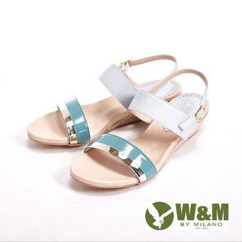 W&M 真皮寬帶環扣式涼鞋 女鞋-灰(另有橘)