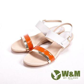 W&M 真皮寬帶環扣式涼鞋 女鞋-橘(另有灰)