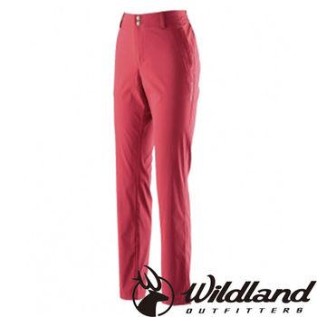 【荒野wildland】女彈性抗UV直筒長褲 暗紅色 (0A21339-12)