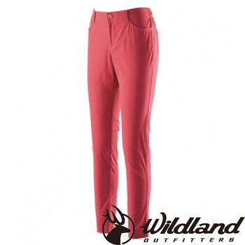 【荒野wildland】女彈性合身抗UV貼腿褲 紅色 (0A21337-08)