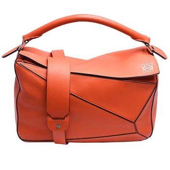 LOEWE PUZZLE BAG系列小牛皮幾何拼接設計手提/肩背包(小-橘色)