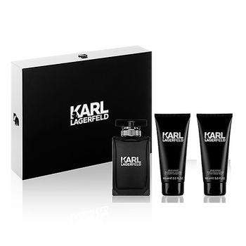 【KARL LAGERFELD】卡爾時尚男性淡香水禮盒-淡香水100ml+鬍後乳+沐浴膠