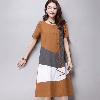 【Jisen】純樸之風棉麻洋裝