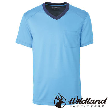 【荒野wildland】男V領咖啡紗抗菌抗UV上衣 中藍色 (0A31620-77)