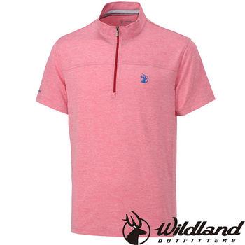 【荒野wildland】男彈性雙色抗UV拉鍊排汗衣  紅色 (0A31606-08)