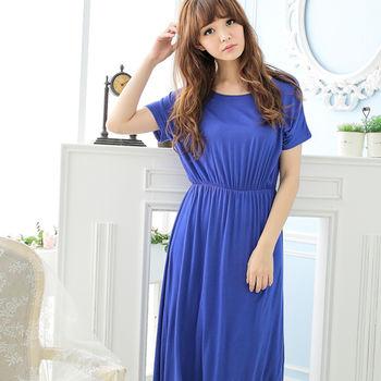 Wonderland 優美佳人嫘縈居家洋裝(藍)