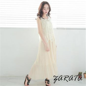 【ZARATA】翻領蕾絲印紋無袖連身長版洋裝(杏色)