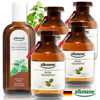 德國Alkmene草本耀典 啤酒花滋養洗髮育毛4+1超值組
