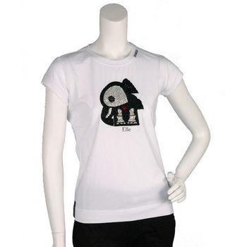 PINKO 俏皮串珠水鑽繡縫可愛小象造型短袖T shirt (白色_M)