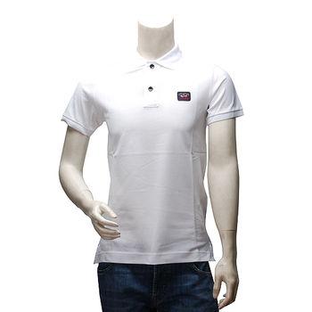 PAUL  SHARK 經典LOGO網眼純棉素色立領短袖POLO衫(白)