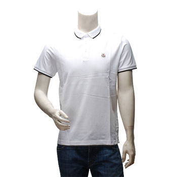 MONCLER 經典品牌LOGO網眼黑紋織邊立領短袖POLO衫(白)