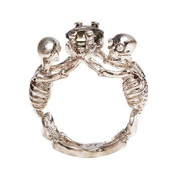 ALEXANDER MCQUEEN 龐克風格水鑽X雙骷髏戒指(銀#13)