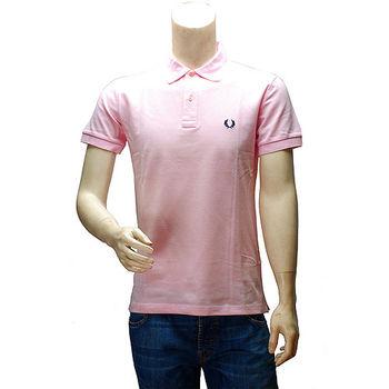 FRED PERRY 經典刺繡LOGO素面立領短袖POLO衫(粉紅-42號)