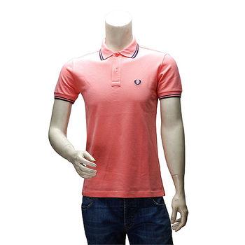 FRED PERRY 經典刺繡LOGO素面雙線立領短袖POLO衫(深粉紅-40號)