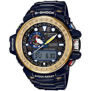 CASIO G-SHOCK 高規格太陽能電波數位指針雙顯錶-黑x金/GWN-1000F-2A