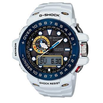 CASIO G-SHOCK 卡西歐 鋼彈配色太陽能電波數位指針雙顯錶-GWN-1000E-8A