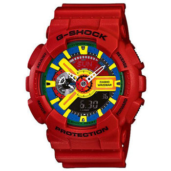 CASIO G-SHOCK限量 機械感設計潮流運動錶(紅/55mm)~公司貨 GA-110FC-1A