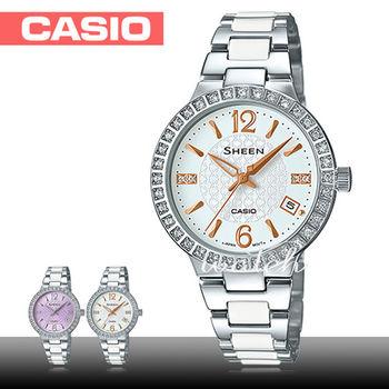 【CASIO 卡西歐 SHEEN 系列】閃耀動人_施華洛世奇水晶_優雅指針型不鏽鋼女錶(SHE-4049D)