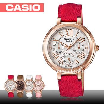 【CASIO 卡西歐 SHEEN 系列】完美閃耀_羅馬時刻三眼石英女錶(SHE-3034GL)