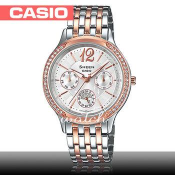 【CASIO 卡西歐 SHEEN 系列】晶鑽系列_氣質不鏽鋼三眼女錶(SHE-3030BSG)