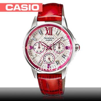 【CASIO 卡西歐 SHEEN 系列】耀眼晶鑽系列_大紅皮革三眼石英女錶(SHE-3029L)