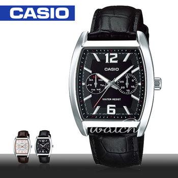 【CASIO 卡西歐】時尚酒桶造型指針皮革_男錶(MTP-E302L)