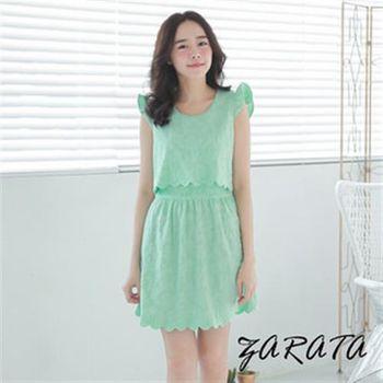 【ZARATA】圓領素色印壓紋荷葉邊層次交叉背洋裝(藍綠)
