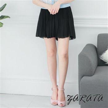 【ZARATA】鬆緊褲頭百褶雪紡短裙(黑色)