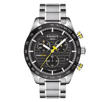 TISSOT 天梭 PRS516 系列賽車元素三眼計時男用腕錶-42mm/T1004171105100