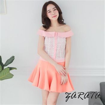 【ZARATA】一字翻領蕾絲壓紋前開釦短版上衣(粉色)