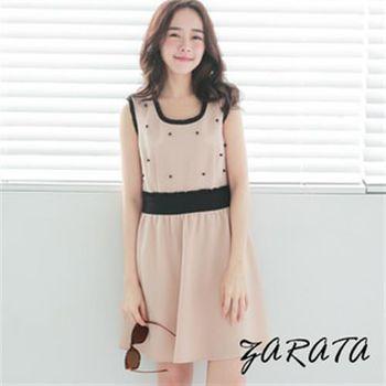 【ZARATA】U領珍珠撞色荷葉邊縮腰連身洋裝(粉藕色)