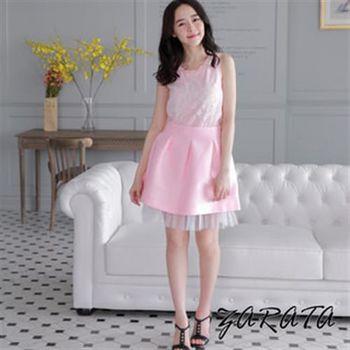 【ZARATA】緞面壓摺素面下擺網紗短裙(粉色)