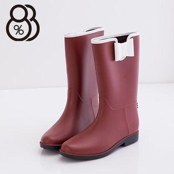 【88%】雨季造型韓版蝴蝶結消光霧中筒雨靴(紅色)