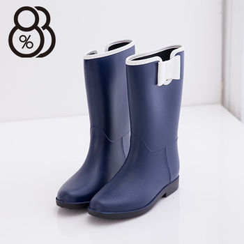 【88%】雨季造型韓版蝴蝶結消光霧中筒雨靴(藍色)