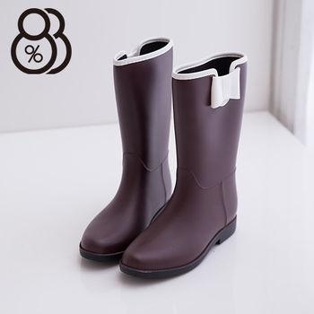 【88%】雨季造型韓版蝴蝶結消光霧中筒雨靴(咖啡)