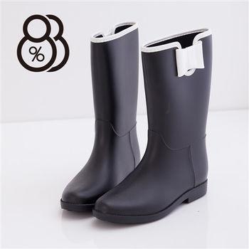 【88%】雨季造型韓版蝴蝶結消光霧中筒雨靴(黑色)