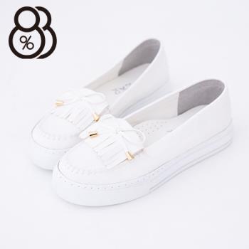 【88%】馬卡龍色系 莫卡辛流蘇蝴蝶結 厚底增高5CM鬆糕鞋 小白鞋(白色)