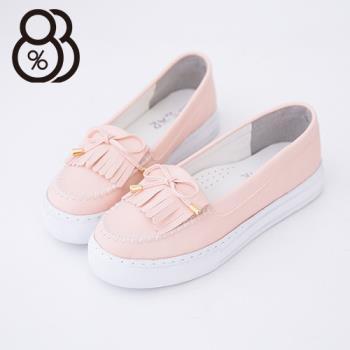 【88%】馬卡龍色系 莫卡辛流蘇蝴蝶結 厚底增高5CM鬆糕鞋 小白鞋(粉色)