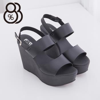【88%】韓國街頭時尚新款 12CM厚底顯瘦增高好走 楔型涼鞋 夜店 跑趴必備款(黑色)