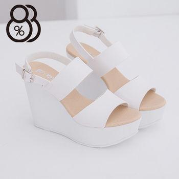 【88%】韓國街頭時尚新款 12CM厚底顯瘦增高好走 楔型涼鞋 夜店 跑趴必備款(白色)