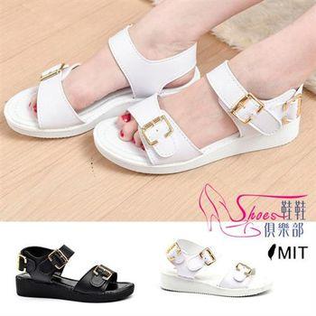 【ShoesClub】【029-6320】台灣製MIT 韓系金屬環扣小坡跟厚底涼鞋.2色 黑/白