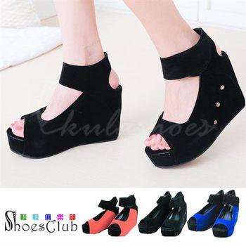 【ShoesClub】【054-6868-1】韓版復古柔軟絨布厚底楔型涼鞋.3色 黑/藍/紅
