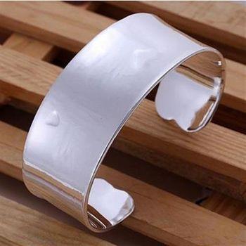 【米蘭精品】925純銀手環手飾韓版寬面經典素面