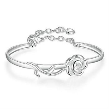 【米蘭精品】925純銀手環手飾甜蜜玫瑰花造型