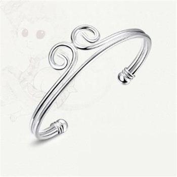 【米蘭精品】925純銀手環手飾創意開口緊箍造型