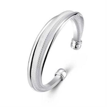【米蘭精品】925純銀手環手飾韓版斜邊網狀造型