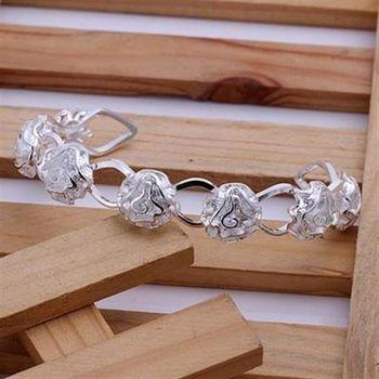 【米蘭精品】925純銀手環手飾典雅氣質玫瑰花造型